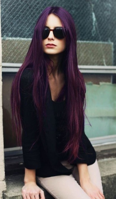 hair style for very long hair stunning purple hair trend for pretty designs 3153 | The Stunning Purple Colored Hairstyle for Very long Straight Hair