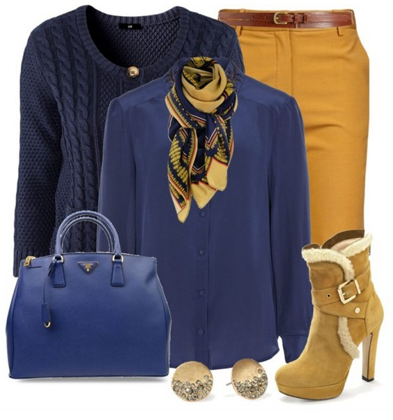 The Trendy Outfit Idea, blue crew neck sweater and blouse