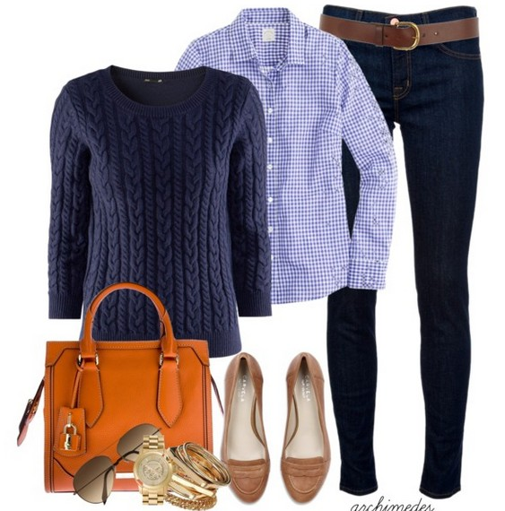 The Trendy Outfit Idea, blue crew neck sweater and plais shirt