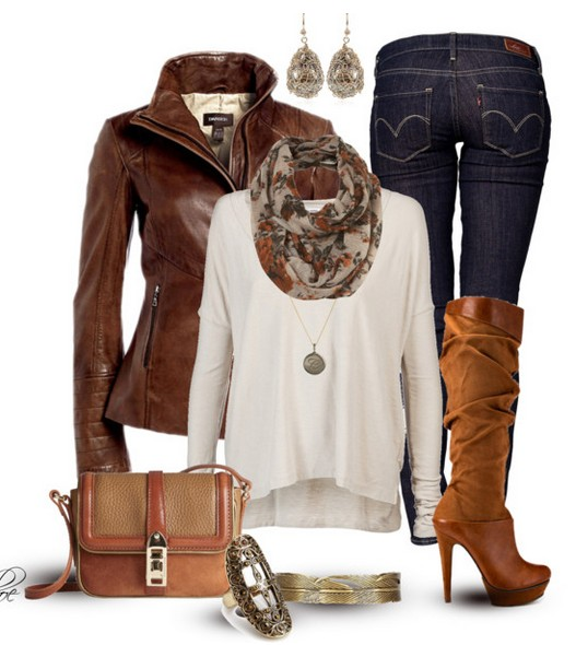 The Trendy Outfit Idea, brown leather jacket, white knit top, jeans and knee-length boots