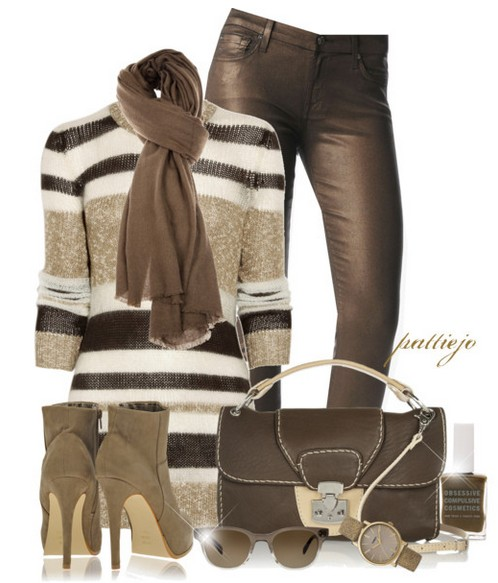 The Trendy Outfit Idea, striped sweater, leather pants and grey ankle boots
