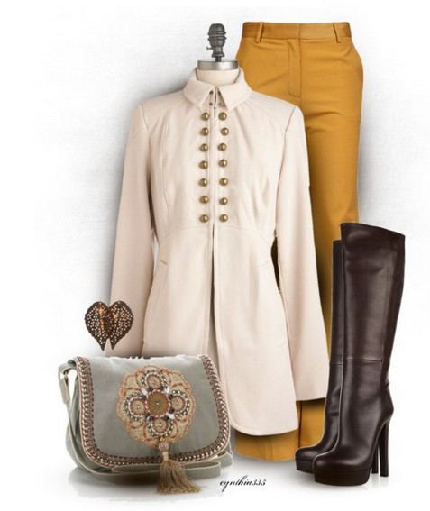 The Trendy Outfit Idea, white windbreak, pants and black knee-length boots