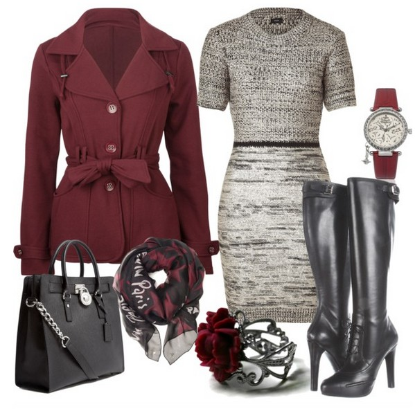 The Trendy Outfit Idea, wine jacket, sweater dress and knee-length boots