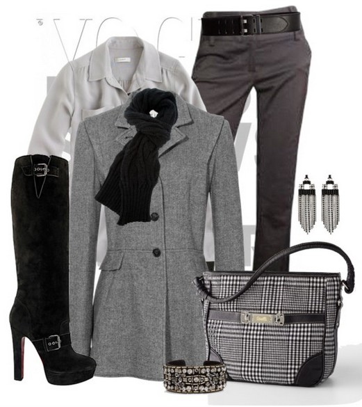 The Trendy Outfit Idea,grey windbreak, pants and black knee-length boots