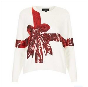Topshop 'Present' Sequin Ribbon Embellished Sweater