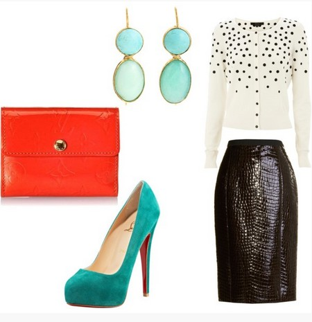 A Turq & Coral Combination for New Year Look, Cocktail Dress with Black Pumps