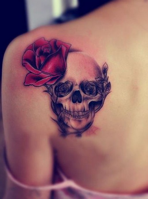 Upper Back Tattoos: Skull Rose Tattoos for Girls