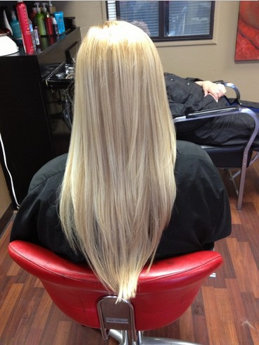 V Cut Hairstyle For Long Straight Blond Hair