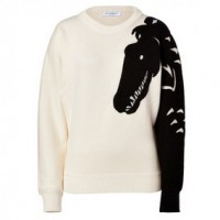 VIKTOR & ROLF Wool Pullover in Ercu-Black and White Sweater