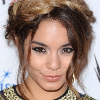Vanessa Hudgens Long Hair style: 2014 Braided Updo