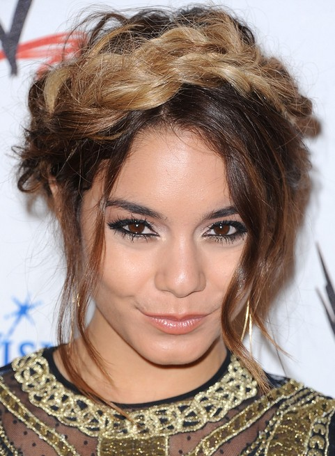 Vanessa Hudgens Long Hair Style 2017 Braided Updo