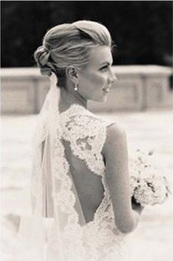 Vintage Updo Hair With Veil For Wedding Hairstyles