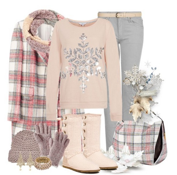 Warm And Cozy Outfit Combinations For The Winter, Pink sweater, jeans and knee-length boots