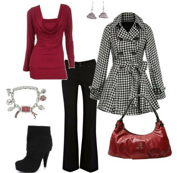 Warm And Cozy Outfit Combinations For The Winter, Plaid peacoat, jeans and black ankle boots