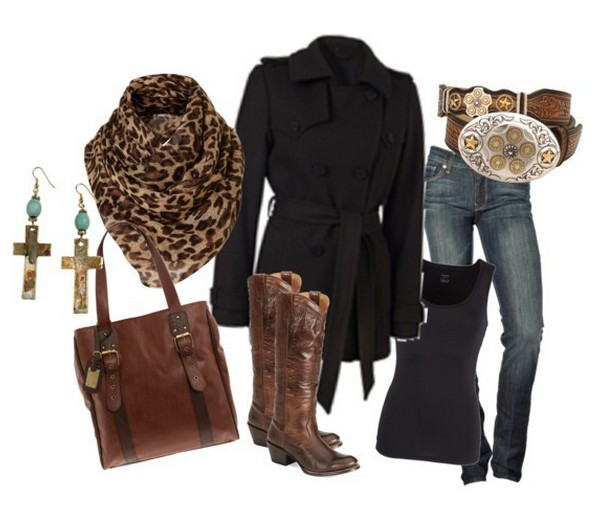 Warm And Cozy Outfit Combinations For The Winter, black peacoat, jeans and knee-length boots