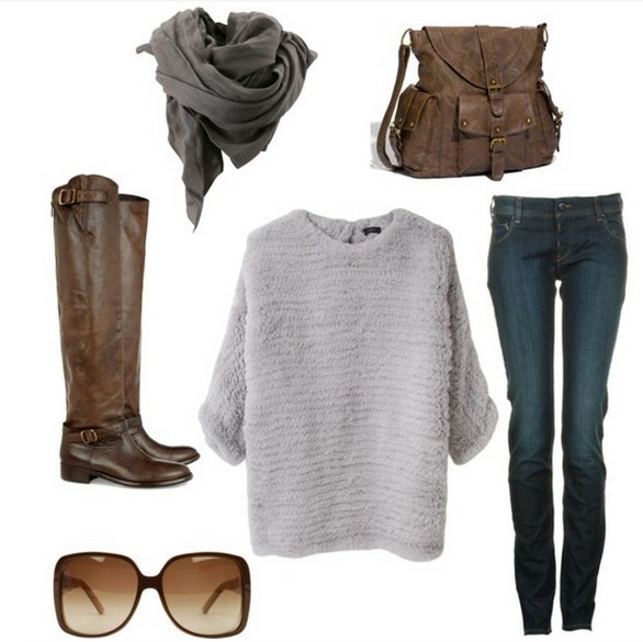 Warm And Cozy Outfit Combinations For The Winter, loose sweater, jeans and knee-length boots