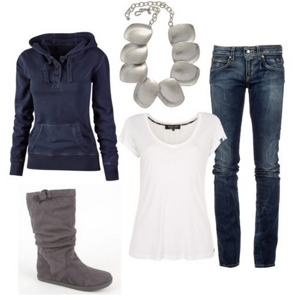 Warm And Cozy Outfit Combinations For The Winter, sporty wear, jeans and boots