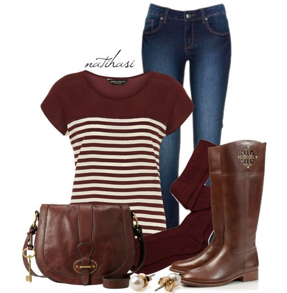 Warm And Cozy Outfit Combinations For The Winter, striped knit top, jeans and knee-length boots