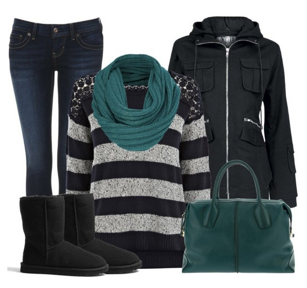 Warm And Cozy Outfit Combinations For The Winter, striped sweater, jeans and black bootsWarm And Cozy Outfit Combinations For The Winter, striped sweater, jeans and black boots