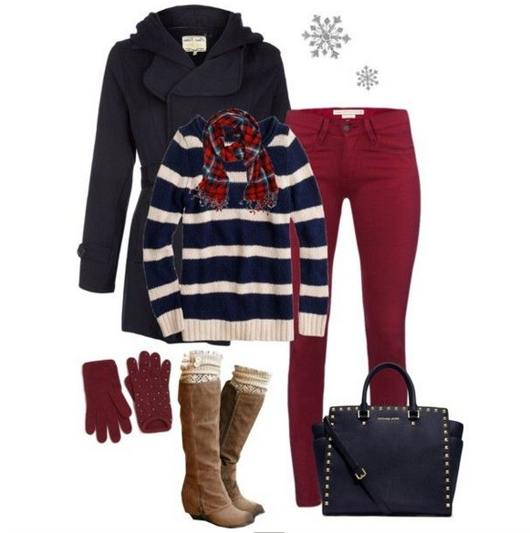 Warm And Cozy Outfit Combinations For The Winter, striped sweater, red skinnies and knee-length boots