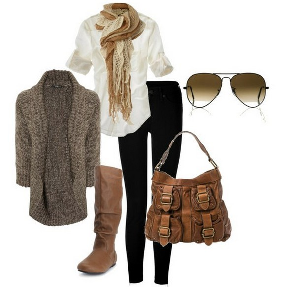 Warm And Cozy Outfit Combinations For The Winter, tan grey cardigan, skinnies and knee-length boots