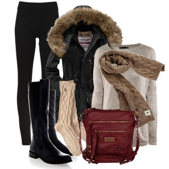 Warm And Cozy Outfit Combinations For The Winter, tan sweater, black skinnies and black knee-length boots