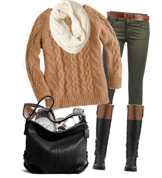 Warm And Cozy Outfit Combinations For The Winter, tan sweater, pants and knee-length boots
