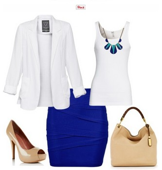 White and Royal Blue Outfit Look, White Suit, Royal Blue Pencil Dress and Nude Pumps