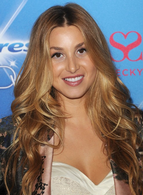 Whitney Port Long Hairstyle: Curly Hair with Center Part