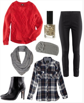 Winter Fall Plaid Outfit, Red sweater, Plaid shirt, Black Leather Pants and Black Ankle Boots