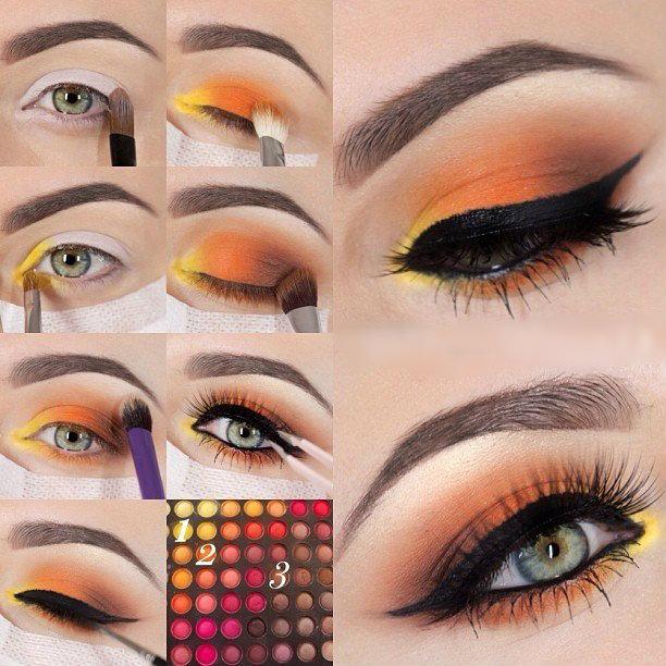 Warm Orange Eyeshadow | Colorful Eyeshadow Tutorials | Fun Colorful Eyeshadow Tutorials For Makeup Lovers