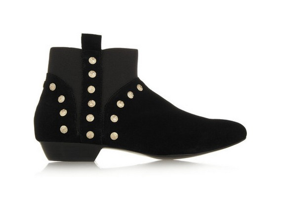 12th Street by Cynthia Vincent Dale studded suede ankle boots, black