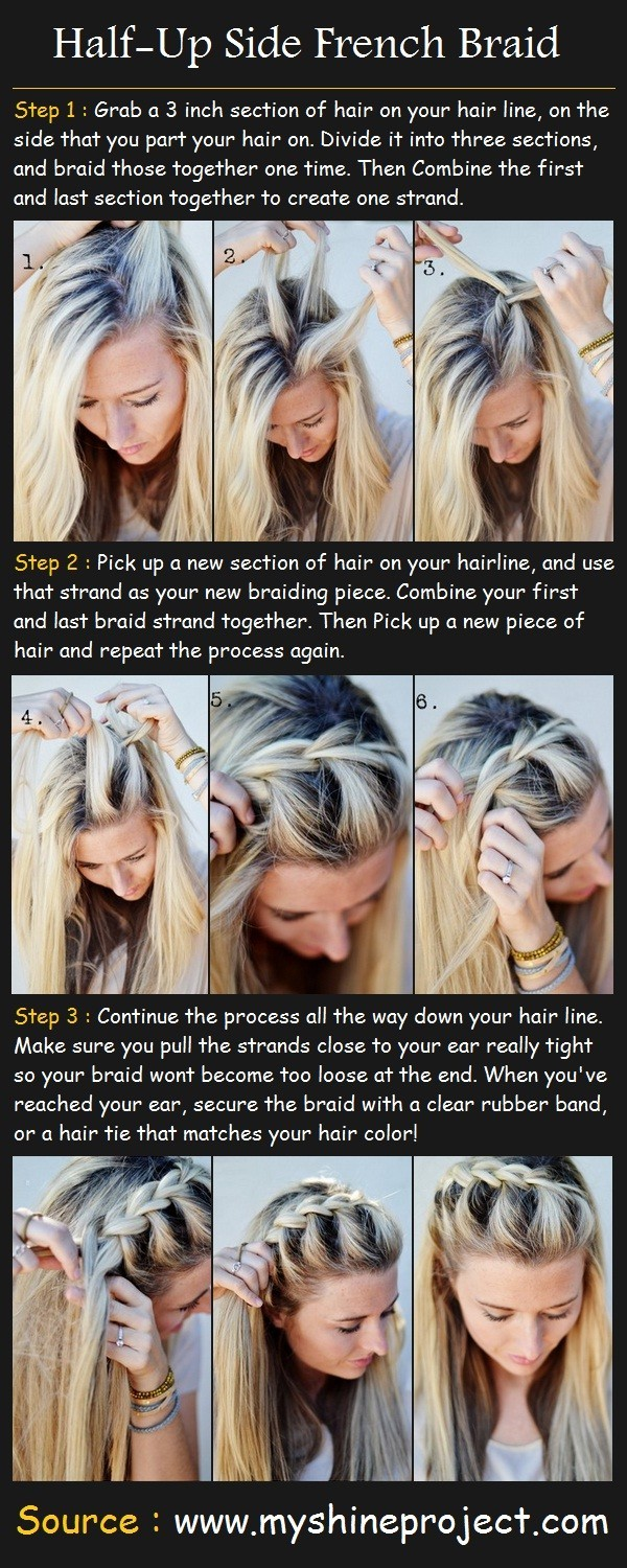15 Braided Bangs Tutorial: Half-up Side French Braid