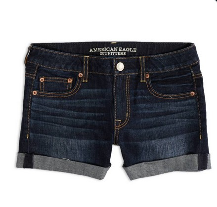 AE Denim Boyfit Midi Short, dark clean indigo