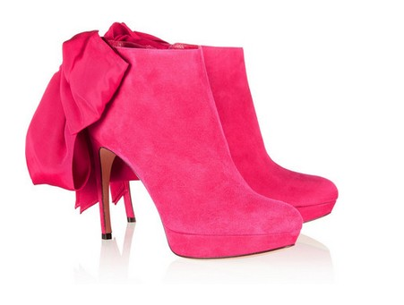 Alexander McQueen Bow-embellished suede ankle boots, bright pink