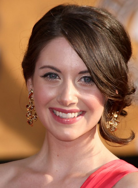 Alison Brie Long Hairstyle: Bobby Pinned updo