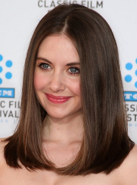 Alison Brie Long Hairstyle: Center Part