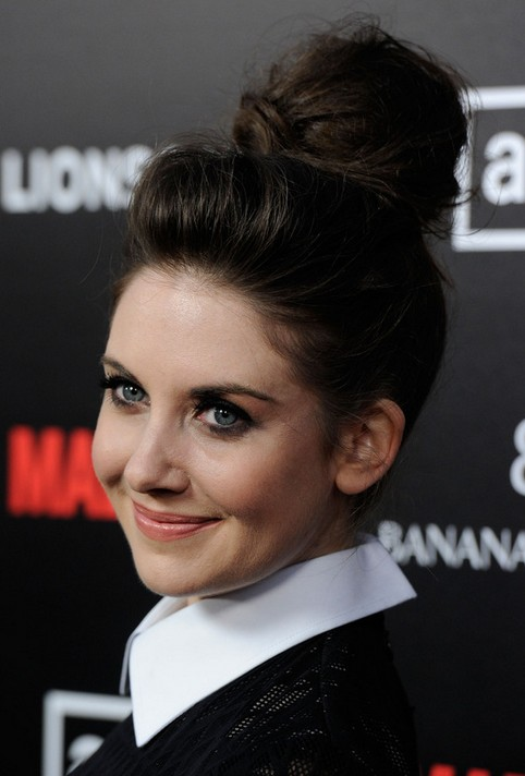 Alison Brie Long Hairstyle: Loose Bun
