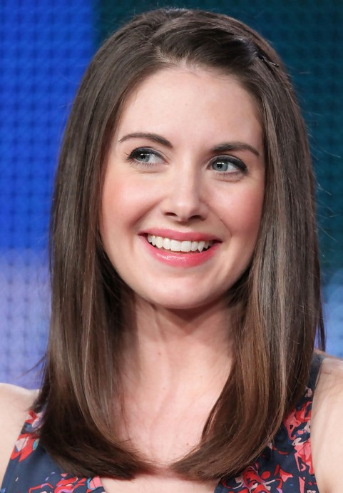 Alison Brie Long Hairstyle: Pinned up Bangs