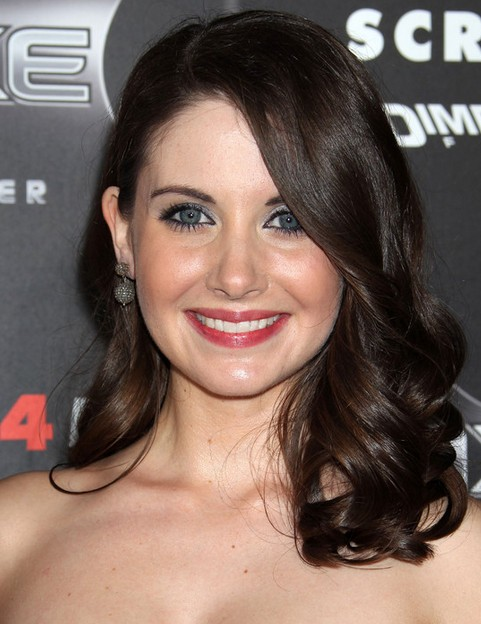 Alison Brie Medium Length Hairstyle: Curls with Bangs