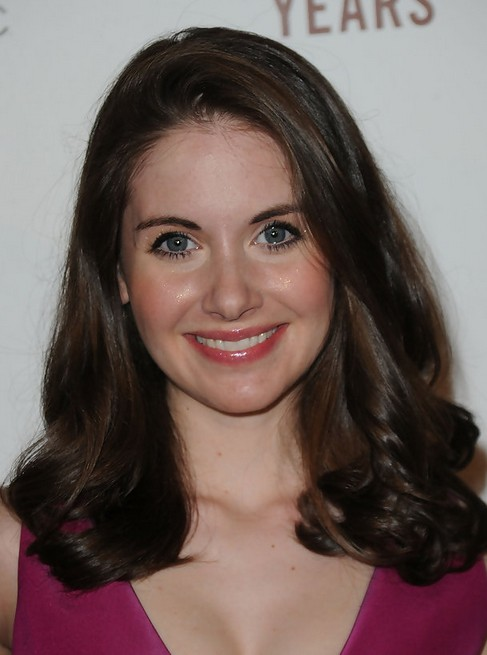 Alison Brie Medium Length Hairstyle: Curls with Deep Side Part