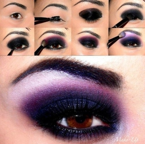 Smoky Eyes Makeup Tutorials: Purple and Siver
