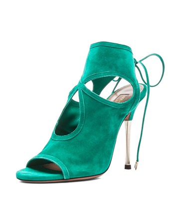 Aquazzura Sexy Thing Suede Peep Toe Bootie with Metal Heel, Emerald and Platino