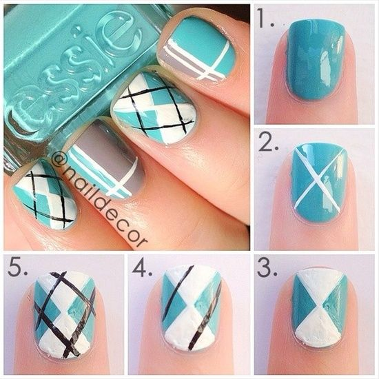 Blue Tartan Nails