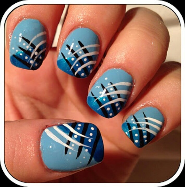 Blue and White Nail Art - 17 Gorgeous Blue Nails Art - Pretty Designs