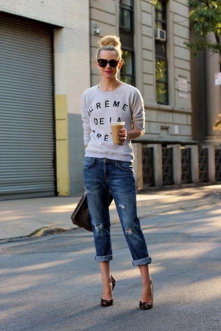 Boyfriend Jeans + Creme De La Creme Sweatshirt for stylish street style