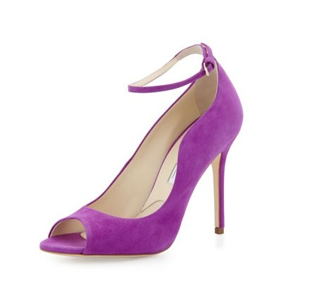 Brian Atwood Open Toe Purple Pumps for jewel-tone spring outfit ideas