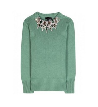 Burberry Prorsum Embellished Cashmere Sweater, mint green