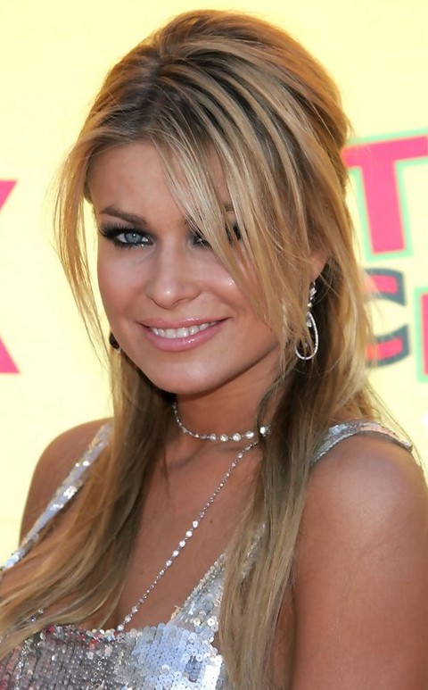 Carmen Electra Hairstyles: Half-up Half-down with Bangs