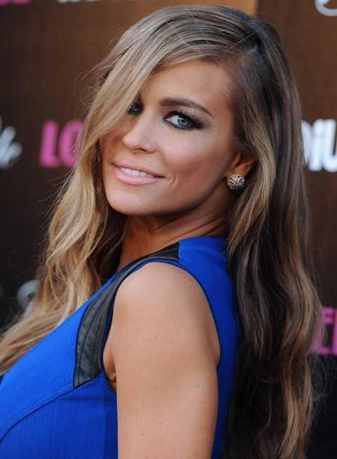 Carmen Electra Hairstyles: Side-parted Waves